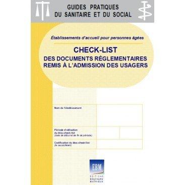 Check-list des documents réglementaires remis à l'admission des usagers : spécifique PERSONNES ÂGÉES