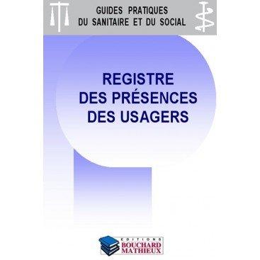 Registre des présences des usagers - version mensuelle moyenne capacité (80 usagers/mois sur 1 an) : lot de 2 exemplaires